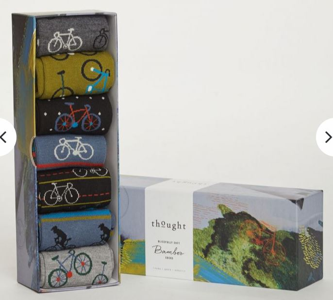 Bike Rider Bamboo Socks in gift box made by Thought