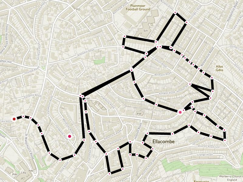 picture of someone who has recorded a physical activity and drawn an image on the map using their running route