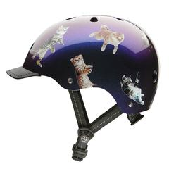 picture of a dark blue helmet with cats floating over it