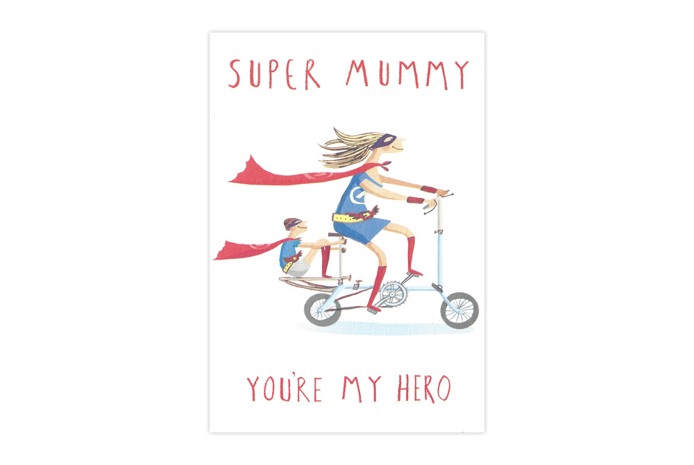 mothers day card with a mum on a brompton style bike with a cape on and writing says super mummy