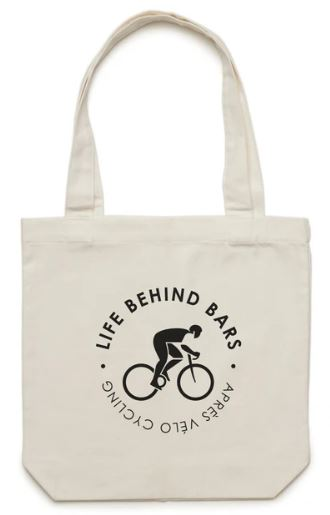 cream canvas shopping bag with cycling image and life behind bars written on the front