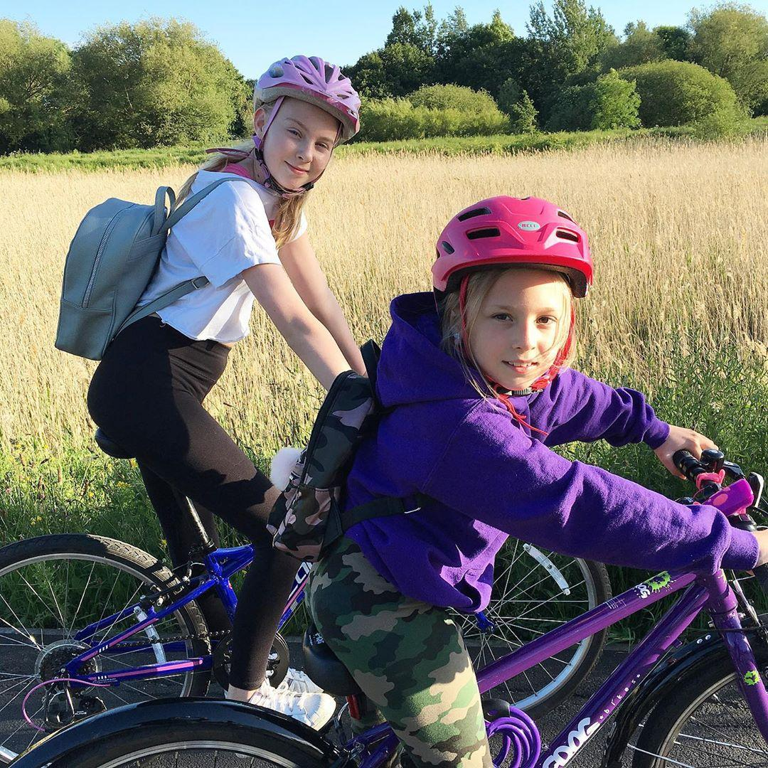 sisters cycling to school