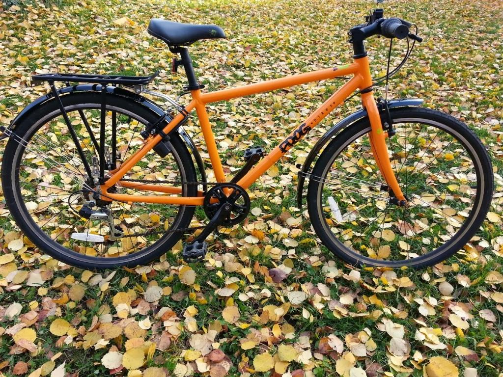 orange child's bike standing in a leafy field in autumn with a pannier rack on the back