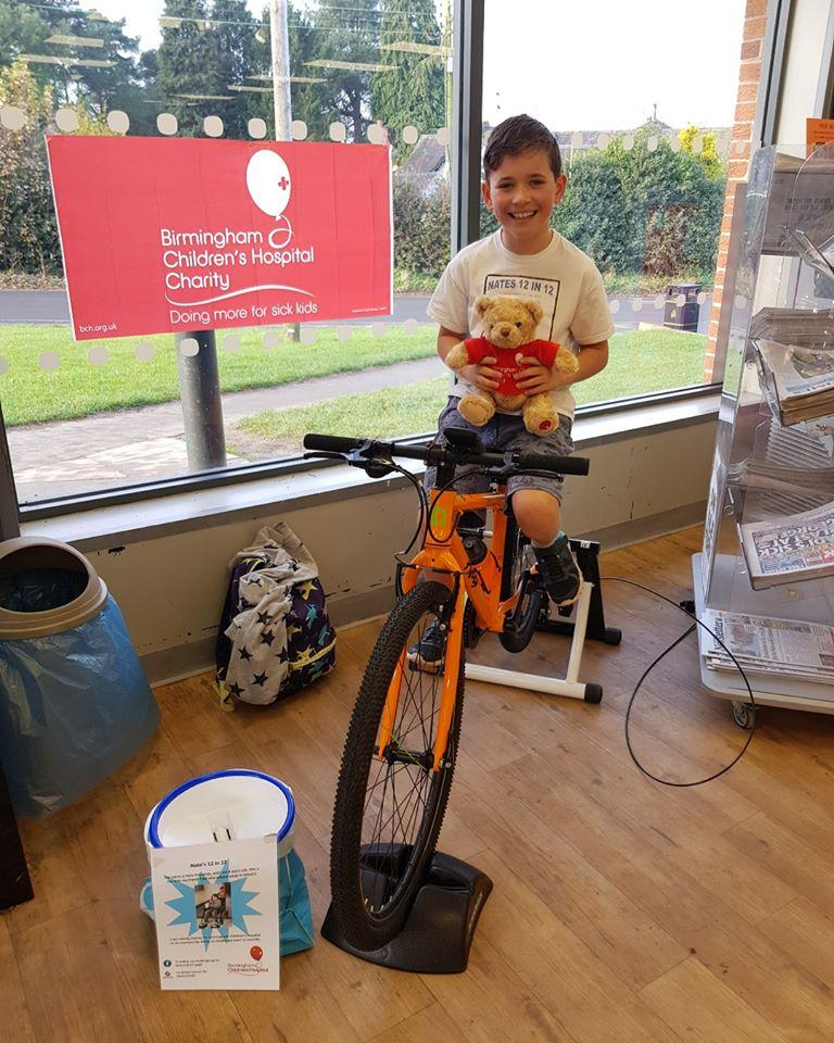 Nate on his bike during his indoor cycle -a-thon