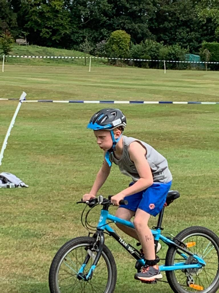 Luke Smith racing in his first triathlon