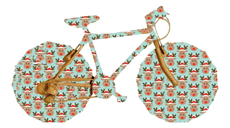 bike wrapped in christmas paper