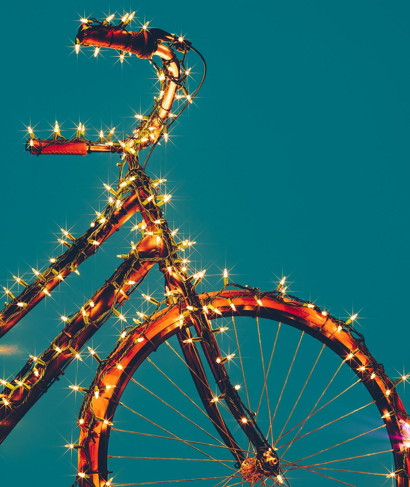 bike covered in fairy lights