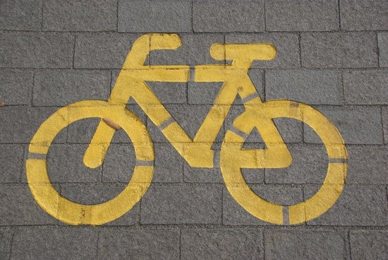 cycle lane painted sign