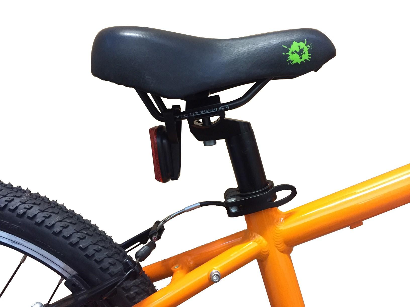 image of a child's bike seat post and saddle to show the quick release lever