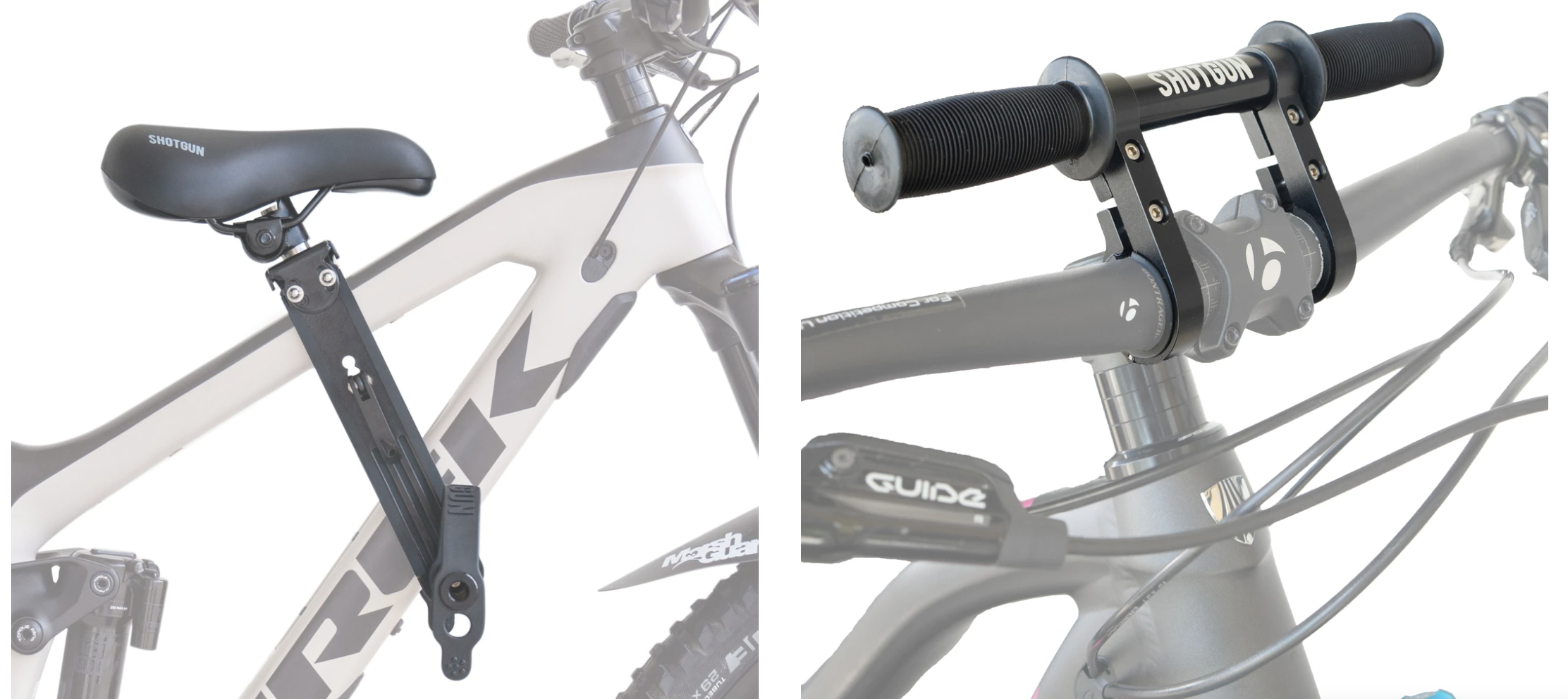 shotgun childs seat and handlebar add on shown on an adults mountain bike