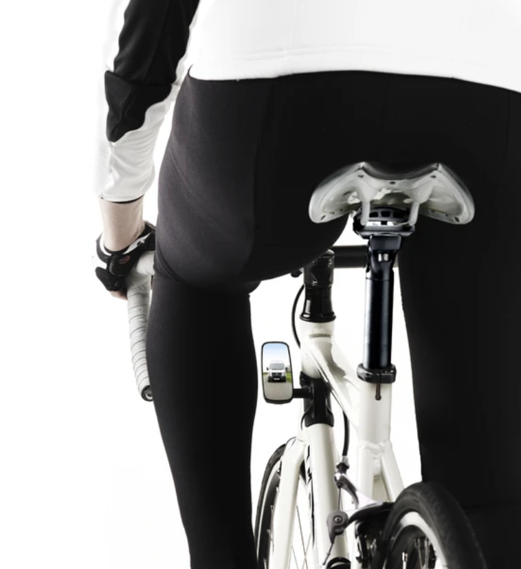 image of a small mirror attached on the wrist like a watch so you can see behind you when cycling