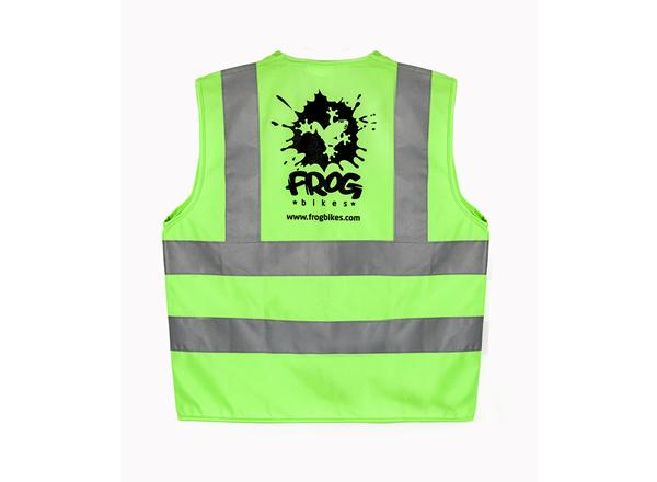 frog bikes green high vis vest for kids to wear when cycling